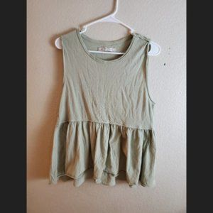 Free People Green Sleeveless Peplum Ruffle Top